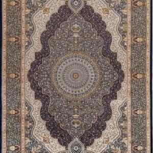 فرش ابریشم قم رنگ زیتونی - کد 4077 | فرش اکسیر