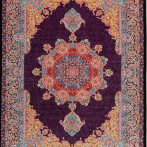 فرش ابریشم قم رنگ ارغوانی - کد 4078 | فرش اکسیر
