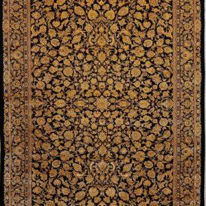 فرش ابریشم قم رنگ مشکی - کد 4079 | فرش اکسیر