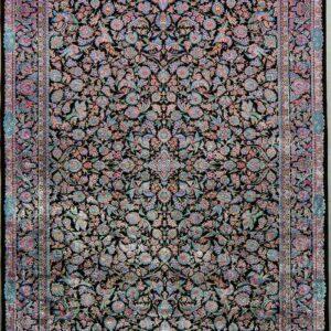 فرش ابریشم قم رنگ آبی - کد 4080 | فرش اکسیر