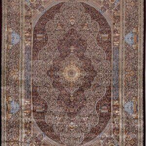 فرش ابریشم قم رنگ شرابی - کد 4082 | فرش اکسیر