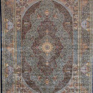 فرش ابریشم قم رنگ سبز - کد 4081 | فرش اکسیر