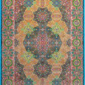 فرش ابریشم قم رنگ آبی - کد 4083 | فرش اکسیر