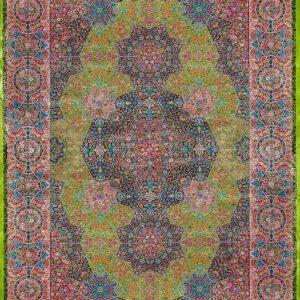 فرش ابریشم قم رنگ سبز - کد 4084 | فرش اکسیر