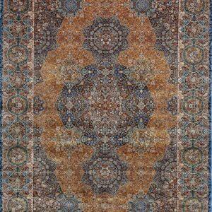 فرش ابریشم قم رنگ لاجوردی - کد 4085   فرش اکسیر