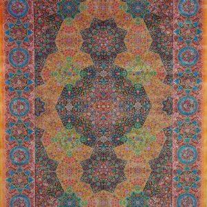 فرش ابریشم قم رنگ زرد - کد 4086   فرش اکسیر