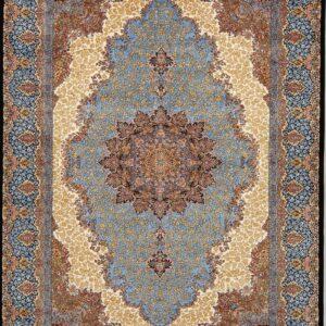 فرش ابریشم قم رنگ آبی - کد 4087   فرش اکسیر