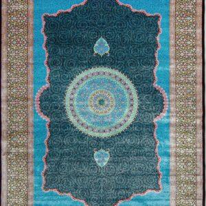 فرش ابریشم قم رنگ مشکی - کد 4088   فرش اکسیر