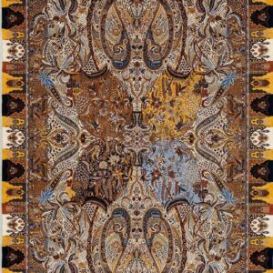 فرش ابریشم قم رنگ کرم - کد 4089   فرش اکسیر