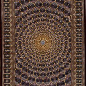 فرش ابریشم قم رنگ مشکی - کد 4092   فرش اکسیر