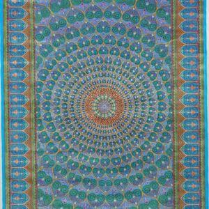 فرش ابریشم قم رنگ آبی - کد 4093   شرکت فرش اکسیر