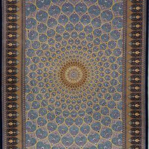 فرش ابریشم قم رنگ آبی تیره - کد 4094 | شرکت فرش اکسیر