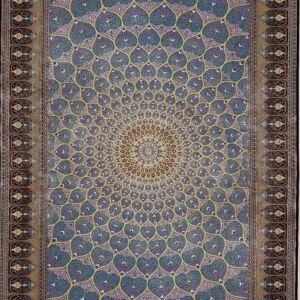 فرش ابریشم قم رنگ لاجوردی - کد 4095 | شرکت فرش اکسیر