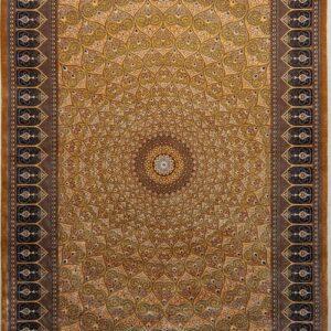 فرش ابریشم قم رنگ زرد - کد 4096 | شرکت فرش اکسیر