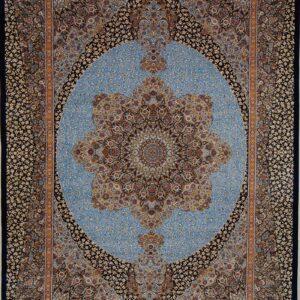 فرش ابریشم قم رنگ لاجوردی - کد 4097 | شرکت فرش اکسیر