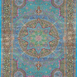 فرش ابریشم قم رنگ آبی - کد 4098 | شرکت فرش اکسیر