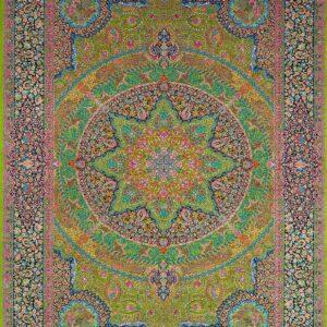 فرش ابریشم قم رنگ سبز - کد 4099 | شرکت فرش اکسیر
