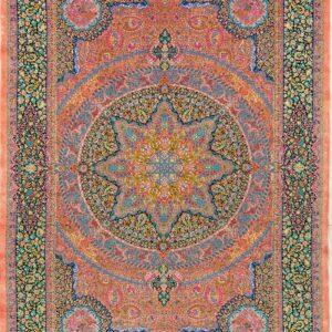 فرش ابریشم قم رنگ سرخابی - کد 4100 | شرکت فرش اکسیر