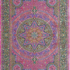 فرش ابریشم قم رنگ صورتی - کد 4101 | شرکت فرش اکسیر