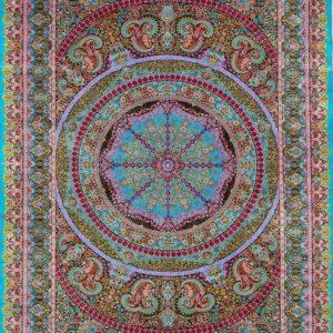 فرش ابریشم قم رنگ آبی - کد 4102 | شرکت فرش اکسیر