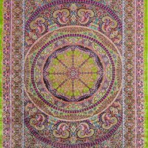 فرش ابریشم قم رنگ سبز - کد 4103 | شرکت فرش اکسیر