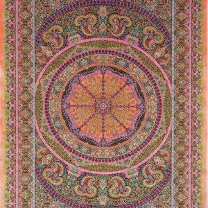 فرش ابریشم قم رنگ صورتی - کد 4104 | شرکت فرش اکسیر