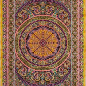 فرش ابریشم قم رنگ زرد - کد 4105 | شرکت فرش اکسیر