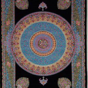 فرش ابریشم قم رنگ مشکی - کد 4106 | شرکت فرش اکسیر