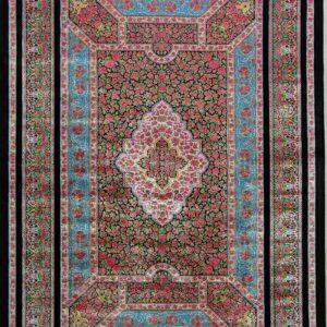 فرش ابریشم قم رنگ مشکی - کد 4108 | شرکت فرش اکسیر