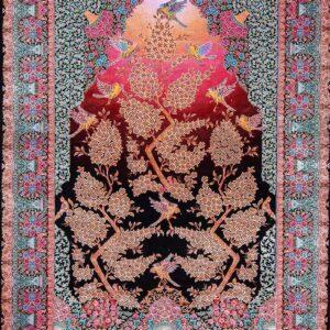 فرش ابریشم قم رنگ مشکی - کد 4109 | شرکت فرش اکسیر