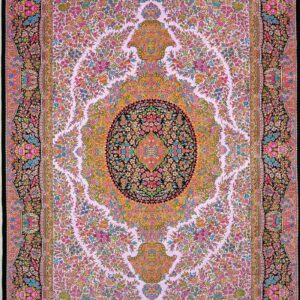 فرش ابریشم قم رنگ صورتی - کد 4110 | شرکت فرش اکسیر