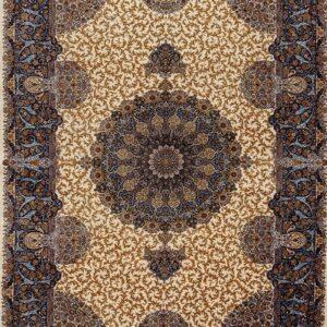فرش ابریشم قم رنگ کرم - کد 4111 | شرکت فرش اکسیر