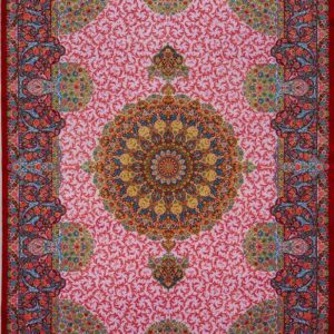 فرش ابریشم قم رنگ صورتی - کد 4112 | شرکت فرش اکسیر