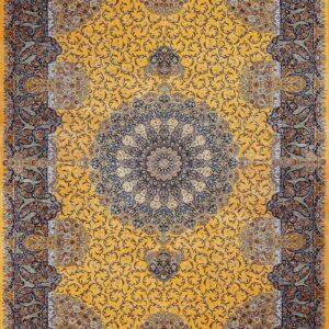 فرش ابریشم قم رنگ زرد - کد 4113 | شرکت فرش اکسیر