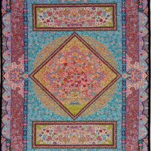 فرش ابریشم قم رنگ مشکی - کد 4114 | شرکت فرش اکسیر
