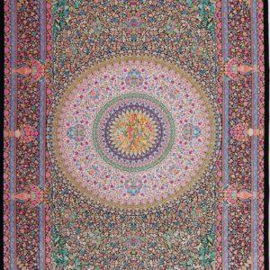 فرش ابریشم قم رنگ مشکی - کد 4116 | شرکت فرش اکسیر